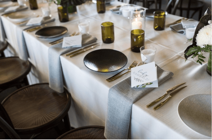 FOLIAGE + GOLD FLATWARE ELEGANCE AT PANAMA DINING ROOM